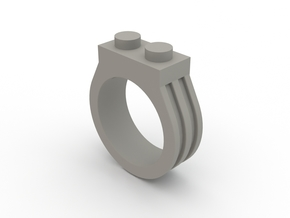 Brick Ring-2 Stud, Size 8 in White Strong & Flexible Polished