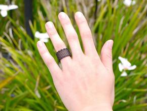 Slim Perforated Honeycomb Ring in Black Strong & Flexible