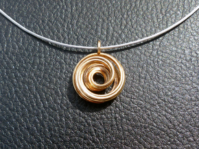 Single Strand Spiral Mobius Pendant in Polished Bronze