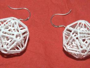 Intricate icosohedron earrings in White Strong & Flexible