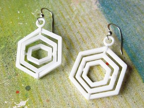 Hexagon Gyroscope Earrings in White Strong & Flexible Polished