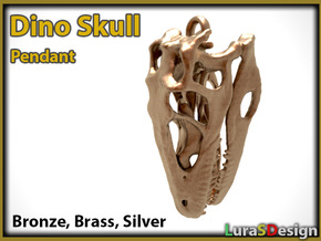 Dinosaur Skull 35mm pendant in White Strong & Flexible
