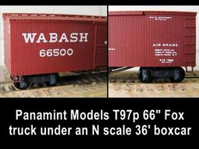 "T97s 18 N scale Fox trucks, 66""wb, screw mount in Frosted Ultra Detail"