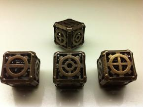 Steampunk Fudge d6 in Polished Bronze Steel