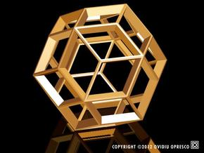 Polyhedral Sculpture #22A in Polished Gold Steel