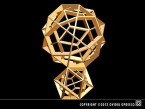 Polyhedral Sculpture #27 in Polished Gold Steel