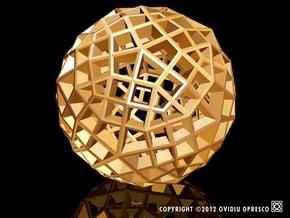 Polyhedral Sculpture #30A in Polished Gold Steel