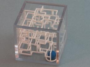 """Bare Bones"" - 3D Rolling Ball Maze in Clear Case( in White Strong & Flexible"