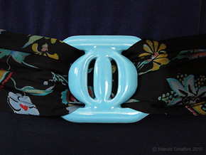 Buckle for material belt in porcelain in Gloss Blue Porcelain
