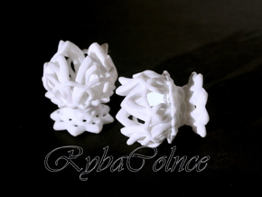 Plugs gauge Lotus Flower / size 3/8  (10mm) in White Strong & Flexible Polished