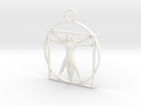 vitruvian man 5cm in White Strong & Flexible Polished