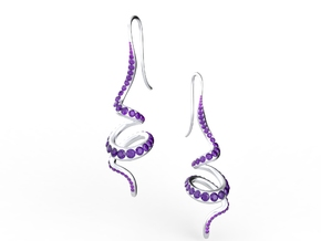 Winding Crystal Earring in Raw Silver
