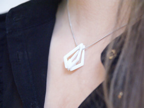 """""""head to head,heart to heart"""" no.30 pendant  in White Strong & Flexible"""