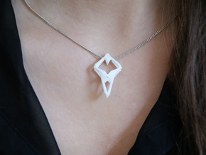 """head to head, heart to heart"" PROTOTYPE, pendant in White Strong & Flexible"