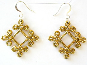 Fractal Celtic knot earrings in Polished Brass