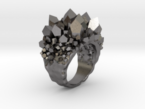 Double Crystal Ring Size 8 in Polished Nickel Steel