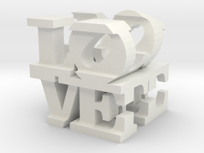 love/life - large (10cm) in White Strong & Flexible