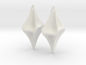 Pinched Earrings in White Strong & Flexible
