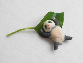 Sleepy Baby Panda in Full Color Sandstone