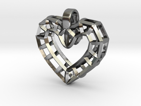 Heart Wire Pendant big in Polished Silver