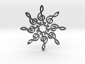 Treble Clef Snowflake Pendant in Polished Grey Steel