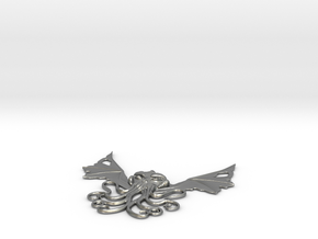 Winged Cthulhu Necklace in Raw Silver