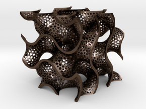 Gyroid in Polished Bronze Steel