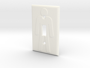 On/Off Light Switch Plate in White Strong & Flexible Polished