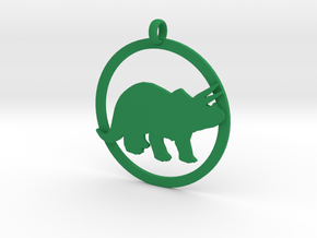 Triceratops charm in Green Strong & Flexible Polished