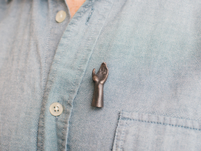 High Five Lapel Pin - Left Hand in Polished Grey Steel