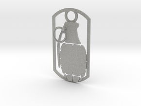 Hand grenade dog tag in Metallic Plastic