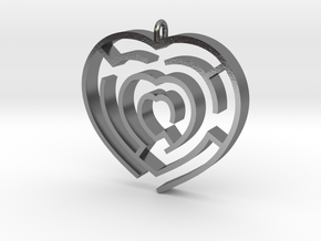 Heart maze pendant in Polished Silver