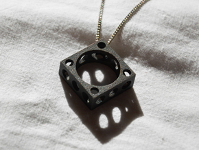 Futurist Ring+Pendant in Matte Black Steel