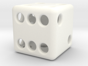 Balanced Hollow Dice (D6) (1.5cm) (Method 1) in White Strong & Flexible Polished