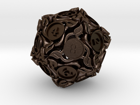 20-sided die with leaves in Polished Bronze Steel