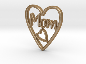 MOM Pendant (3cm) in Matte Gold Steel