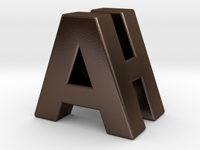 """A & H"" 3d Logotype  in Polished Bronze Steel"