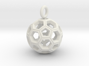 Soccer Ball Pendant /Keyring in White Strong & Flexible