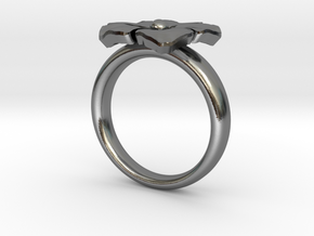 ring flower s 56 in Polished Silver