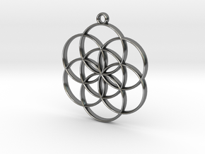 Seed of Life Pendant in Polished Silver