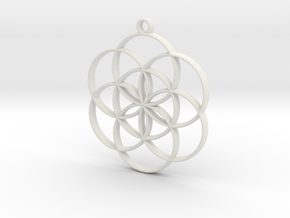 Seed of Life Pendant in White Strong & Flexible