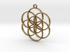 Seed of Life Pendant in Polished Gold Steel