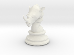 Chess piece – Rhino as Rook in White Strong & Flexible