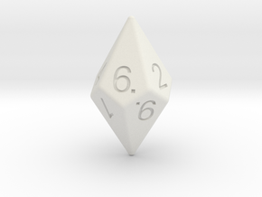 D10 Diamond Dice in White Strong & Flexible