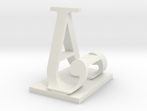 Two way letter / initial A&J in White Strong & Flexible