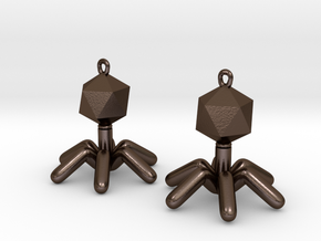 T4 Phage Earings in Polished Bronze Steel