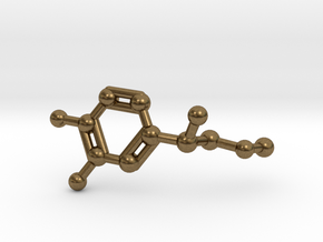 Adrenaline Molecule Necklace Keychain in Raw Bronze