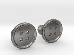 Button Cufflinks in Polished Nickel Steel