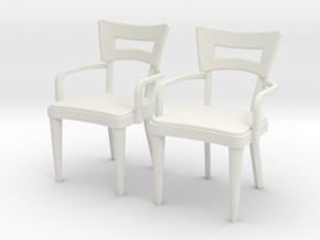 1:36 Dog Bone Chair, with arms in White Strong & Flexible