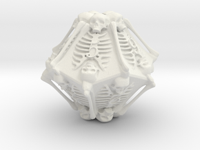 Skeleton D10 ( 10-sided die ) in White Strong & Flexible